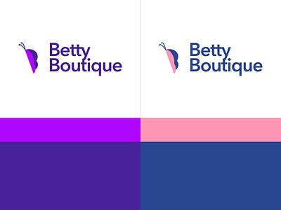 Betty Boutique color palette brand design cute pink brand identity purple animal boutique feminine butterfly minimal clean logo design design logotype mark branding brand logo