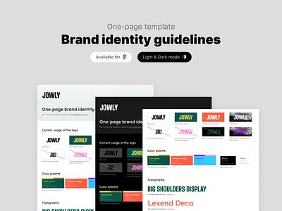 Brand identity guidelines template brand guidelines brand book logo design minimal clean dark mode one page figma template brand design branding brand identity