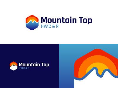 Branding for Mountain Top blue hot heat top mountain logotype air conditioner ac hvac logo branding