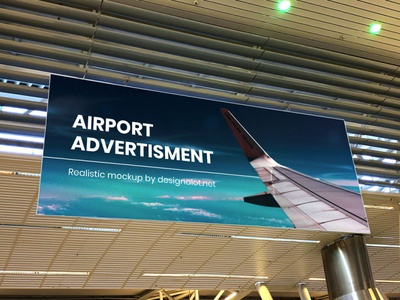 Airport Advertisment Realistic Mockup billboard mockup advertising mockup airport mockup design logo advertising freebie free mockups free mockup design resources mockup freebies mockups