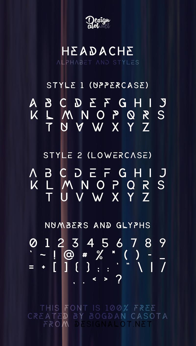 Headache free font preview dribbble