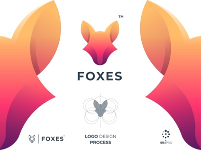 FOXES colorful gradient animalhead graphicdesign logos fox logotype illustration icon grid logo logoinspiration design branding and identity branding awesome logo animal logodesign logo
