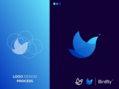 Birdfly bird designinspiration colorful branding and identity branding logotype logo icon grid logo awesome logo animal