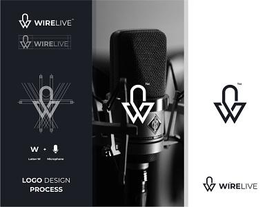 Wirelive minimalist simple modern illustration monogram microphone logoinspiration goldenratio branding logotype logo icon grid logo awesome logo