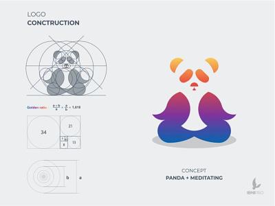 Panda Meditating brandidentity meditating panda vector logotype goldenratio logoinspiration colorful animal grid logo branding logo