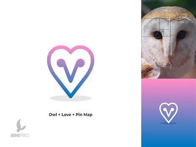 Owl   Love   Pin Map brand identity map pin love owl logotype goldenratio logoinspiration animal icon grid logo logo
