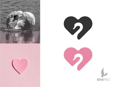Swan   Love negative space logo love swan bird illustration vector goldenratio logoinspiration animal icon logotype grid logo logo
