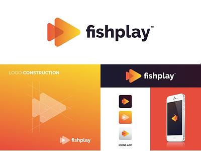 Fishplay fish logo app play fish awesome logo branding and identity vector branding logoinspiration animal icon grid logo logotype logo