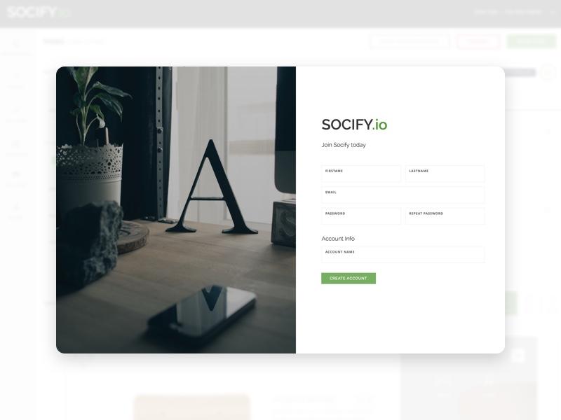 Socify.io - Register ui register page dashboard admin