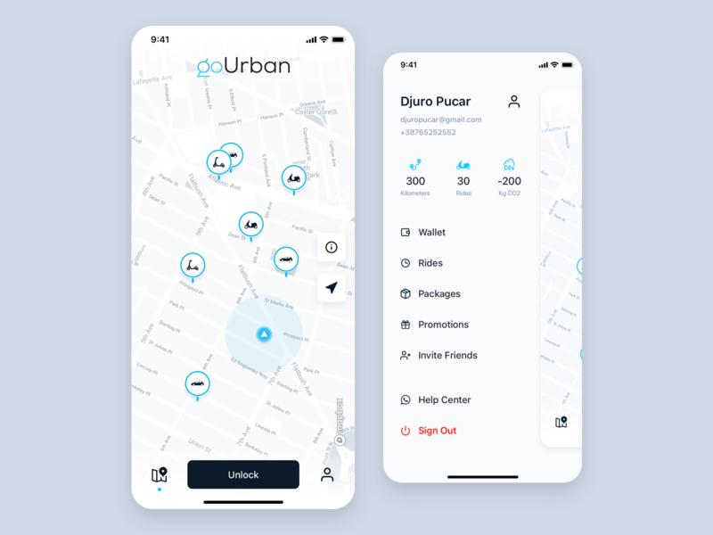goUrban map layout design ui ux