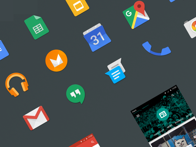 Android M GUI Kit m android design material application app icon ui gui