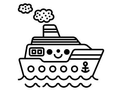 boat kawaii character design bateau boat illustration contour outline tampon stamp