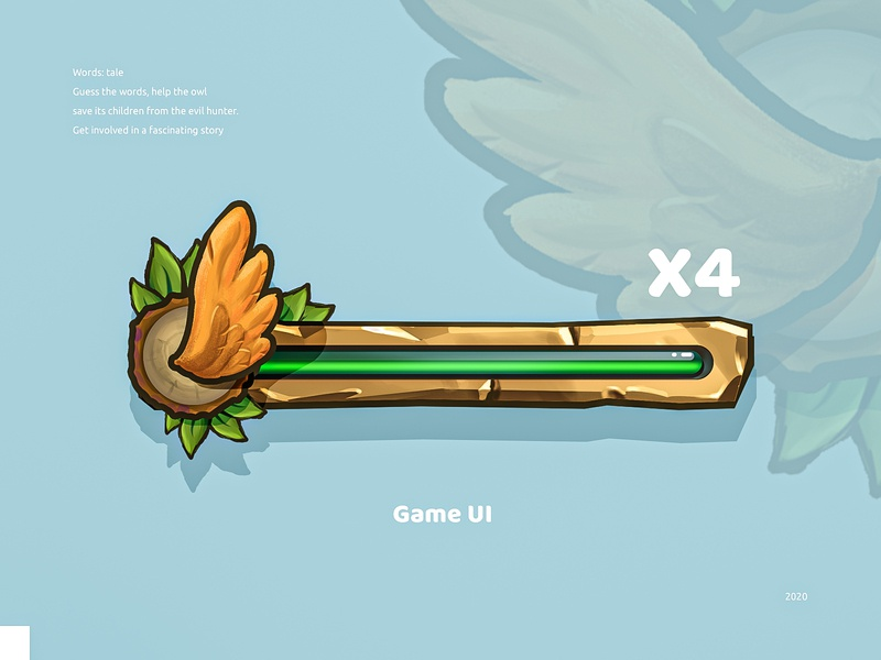 Wing progress bar game interface progress bar mobile game ui digital painting adobe photoshop illustration art illustraion game ui
