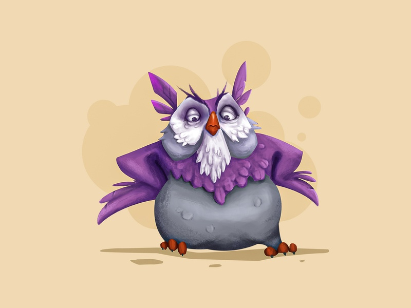 Wise Owl animal character character purple owl purple illustration illustration art owls drawing photoshop art cartoon art cartoon character cartoon owl illustration
