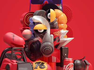 Work Hard art adobe modern graphic design inspiration octane cinema4d design illustration 3d