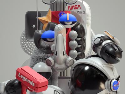 Astronaut adobe art modern graphic design inspiration octane cinema4d design illustration 3d