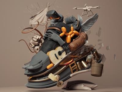 Sneakers art modern adobe graphic design inspiration octane cinema4d design illustration 3d