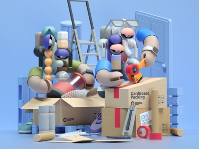 Packing abstract modern adobe graphic design inspiration octane cinema4d design illustration 3d paper