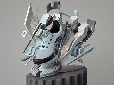 ASICS NOVABLAST SPS 2020 Sneakers modern abstract adobe graphic design inspiration octane cinema4d design illustration 3d