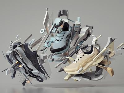 ASICS NOVABLAST SPS 2020 Sneakers abstract adobe modern graphic design inspiration octane cinema4d design illustration 3d