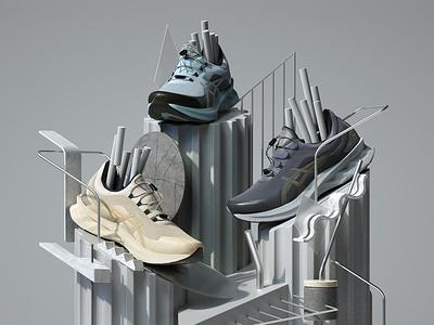 ASICS NOVABLAST SPS 2020 Sneakers abstract modern adobe graphic design inspiration octane cinema4d design illustration 3d