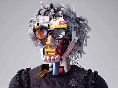 Deconstruct, Self-Portrait Series-2050 branding ui abstract modern portrait inspiration octane cinema4d design illustration 3d