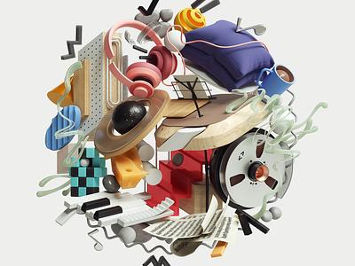 Vinyl Moon Record Cover Album abstract art modern graphic design inspiration octane cinema4d design illustration 3d