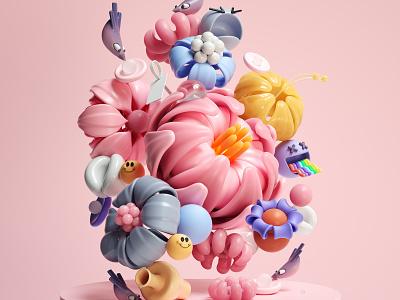 Dreamy Flowers webdesign modern flowers graphic design inspiration octane cinema4d design illustration 3d ui