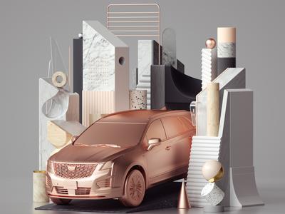 Cadillac XT5 Illustration octane set design modern inspiration illustration cinema4d 3d