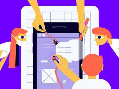 Usability Testing  character minimal software app phone bug ui testing usability ux