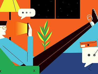 Conversational Commerce illustration character minimal commerce conversational ui ux chatbot messenger
