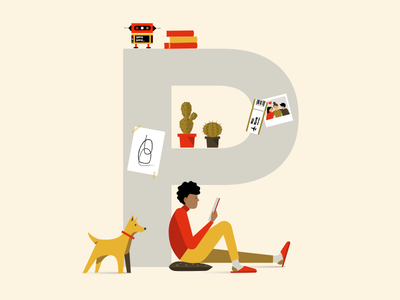 SPFR Team 2 relaxing chill dog illustration employee work people vectors robots reading office team