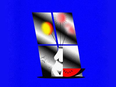 Cosmic Flowers illustration window art cosmic watermelon flower vase