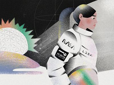 NASA's Experiment Illustration digital experiment character illustration texture girl mars astronaut space nasa