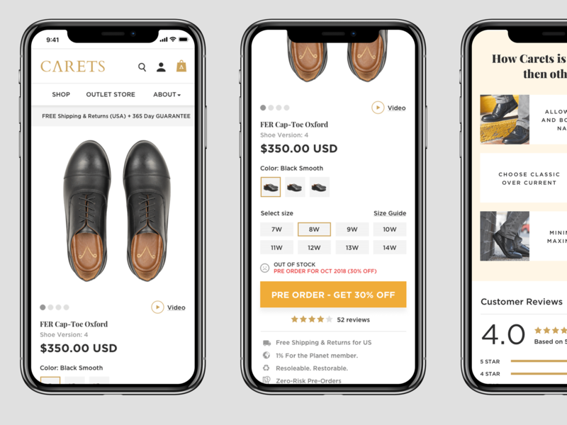Product Page preorder shoe design product details ecommerce product page clean layout mobile app ui logo typography ux responsive design flat ui web design flat design