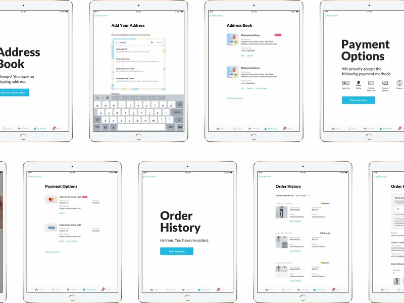 iPad App for 7 brands order history my account cart basket checkout ecommerce brands ecommerce app ipad app ipad application ios 12 ecomerce
