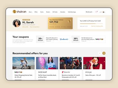 Shukran Case study loyalty app loyalty program loyalty card loyalty design clean layout responsive design ui e-commerce web design flat design