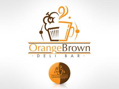Orange Brown brown orange coffee vector logo