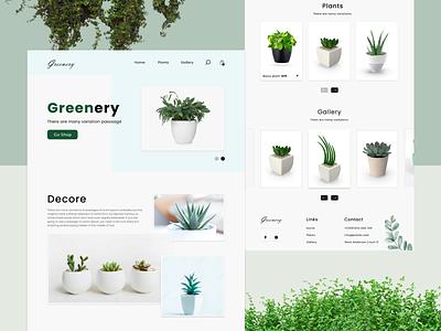 Greenery landing page webdesign web tamplete typography web ux ui design