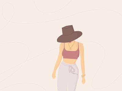Girl flat vector poster hat beach minimal girl