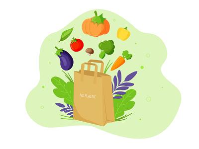 Food vegetables vegan green no plastic vector food