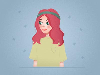 Girl green vector portrait graphic design poster girl