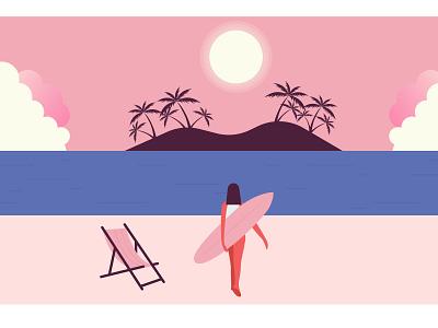 Girl surfing landscape postcard vacation surfing girl palm sun summer beach sea