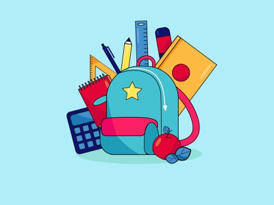 Back to school. Backpack with school items. banner poster illustration vector graphic design ruler items briefcase school
