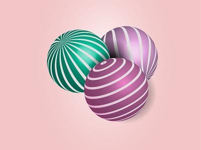 3D spheres design line style green pink graphic design sphere 3d illustration vector