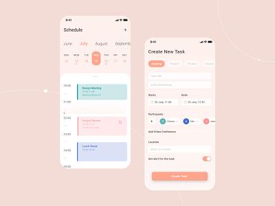 Online scheduling app calendar color app ui design