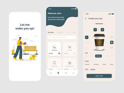 Coffe Order App color illustration shop design app coffee