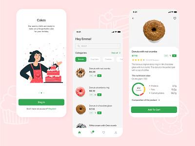 Sweet Bakery Shop shop ui desert sweet bakery donut cake app illustration design