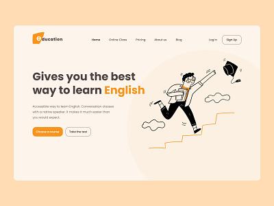 English school page design school app english ui logo illustration design