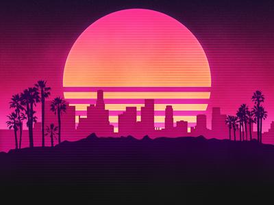 Los Angeles Party Invite los angeles neon retro 80s